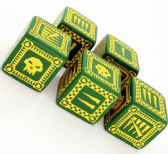 Green & Yellow D6 Ork Dice Set